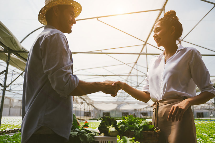 Client Center - Farmer and Business Woman Standing in a Greenhouse Shaking Hands